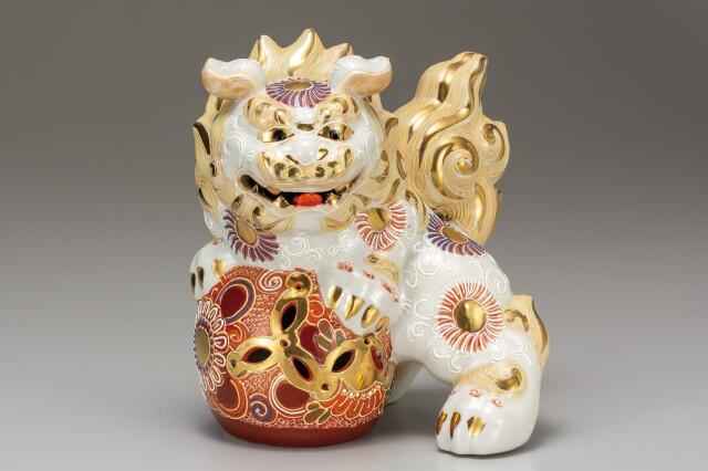 九谷焼 6.5号獅子 白盛