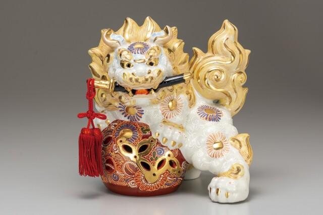 九谷焼 8号剣獅子 白盛
