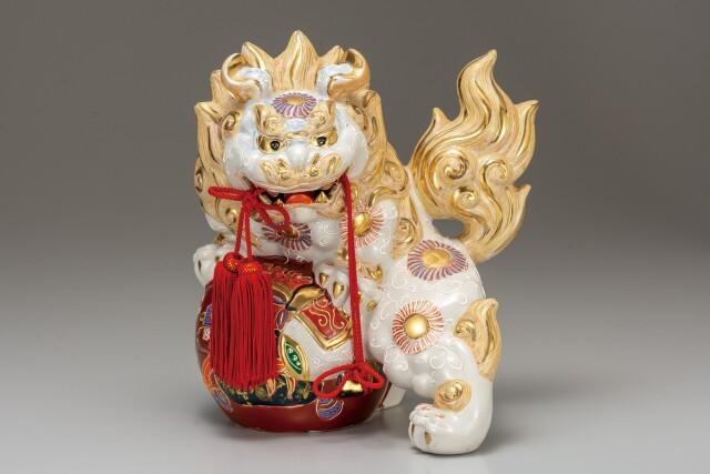 九谷焼 9号宝獅子 白盛