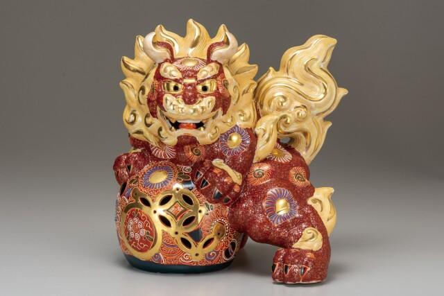 九谷焼 10号立獅子 盛