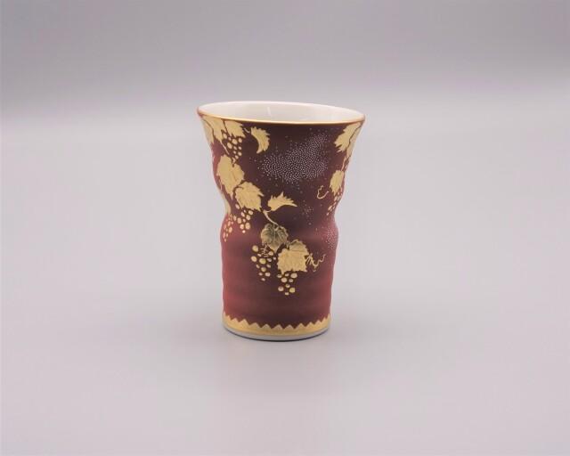 フリーカップ(萬碗) 渦打白粒盛金葡萄図(朱地) [ 仲田錦玉 ]