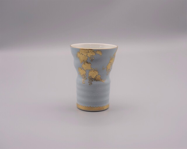 フリーカップ(萬碗) 渦打白粒盛金葡萄図(薄青地) [ 仲田錦玉 ]