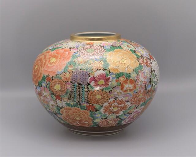 九谷焼花瓶 洸仙