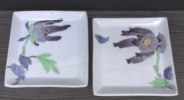 2枚組角皿 牡丹の図 [ 武腰潤 ]