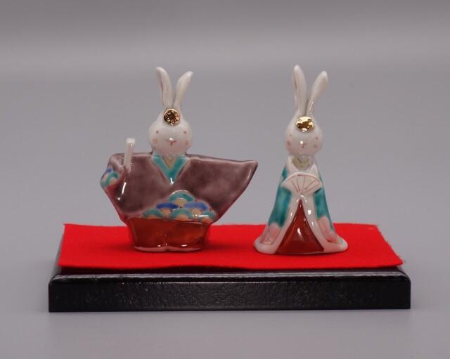 九谷焼雛人形 うさぎ(紫・緑) 台付 [ くたに動物園 ]