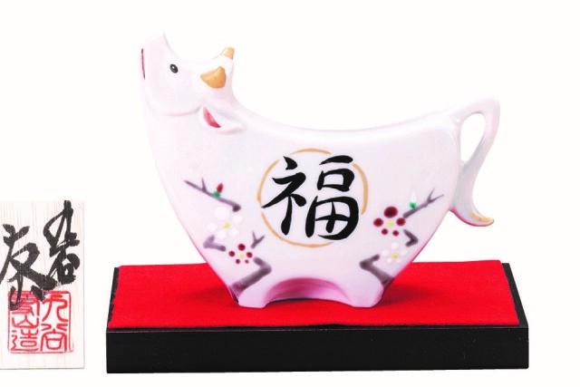 九谷焼縁起干支 4号丑 福梅 [ 友山窯 ]