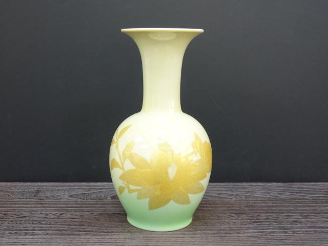 花瓶(8号) 釉裏金彩泰山木文 [ 人間国宝 吉田美統 ]6-2004
