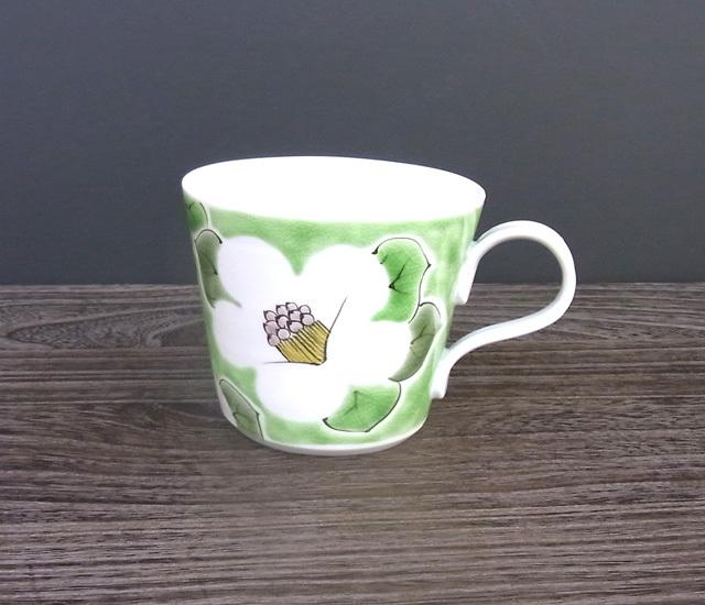 マグカップ 椿(緑色) [ 九谷極彩×色絵九谷 遊 ]