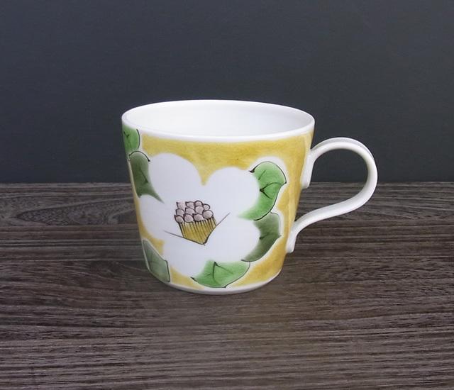 マグカップ 椿(黄色) [ 九谷極彩×色絵九谷 遊 ]