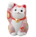九谷焼 3.5号招猫 ピンク盛