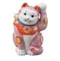 九谷焼 6.5号招猫 ピンク盛