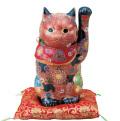 九谷焼 8号招猫 盛 [ 座布団付 ]5-1597