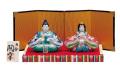 九谷焼 3号雛人形 紺赤桜花紋 [ 陶幸窯 ]5-1783