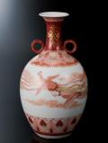 花瓶(8.5号) 赤絵瑞鳥文 [ 福島武山 ]