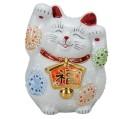 九谷焼 4.5号絵馬招猫 白盛