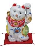 九谷焼 6.5号招猫 白盛 [ 座布団付 ]