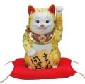 九谷焼 10号小判招猫 黄盛 [ 座布団付 ]