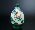 花器(7.8号) 色絵山茶花に鳥 [ 三ツ井為吉 ]