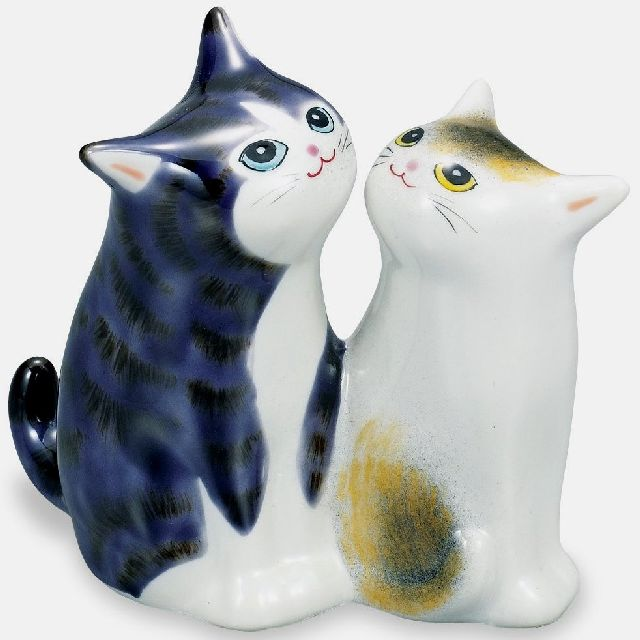 九谷焼ギフト ご贈答品 御祝い 九谷焼3.8号仲良し猫 紫彩