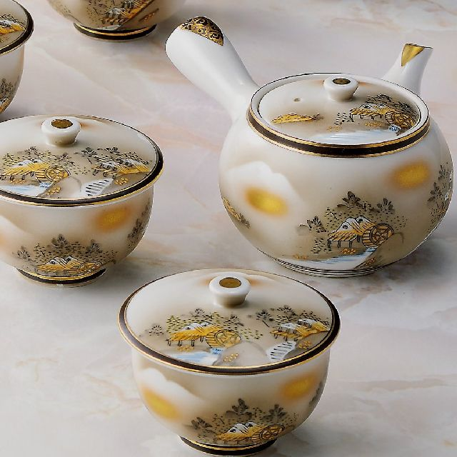 【送料無料】九谷焼ギフト ご贈答品 御祝い 九谷焼蓋付茶器 墨山水