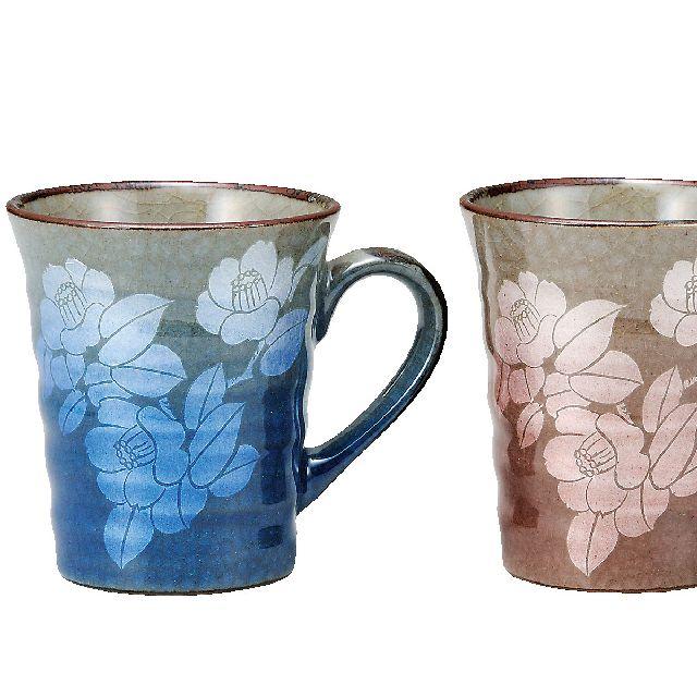 九谷焼ギフト ご贈答品 御祝い 九谷焼ペアマグカップ 銀彩山茶花