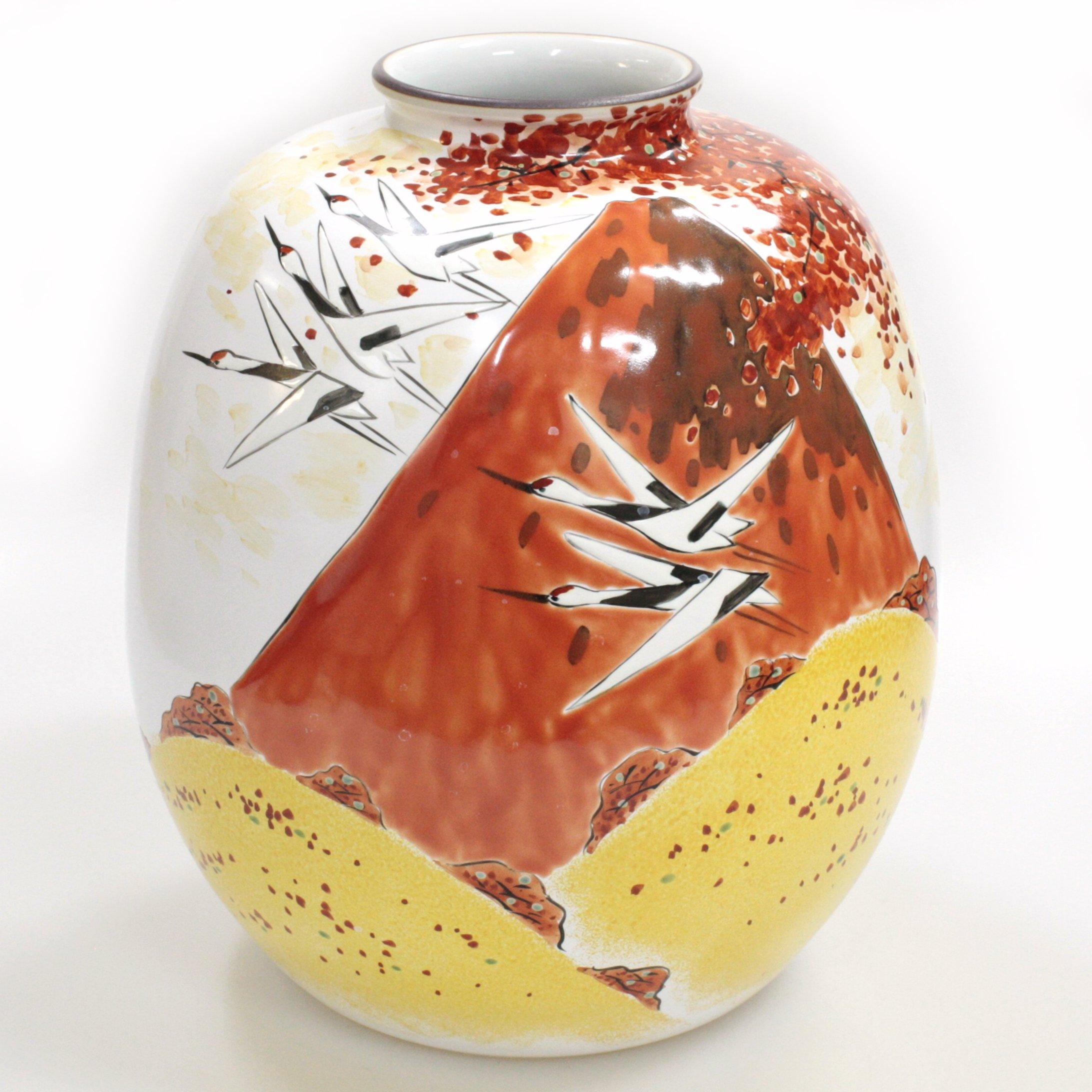九谷焼ギフト ご贈答品 御祝い 九谷焼8号花瓶 秋の赤富士