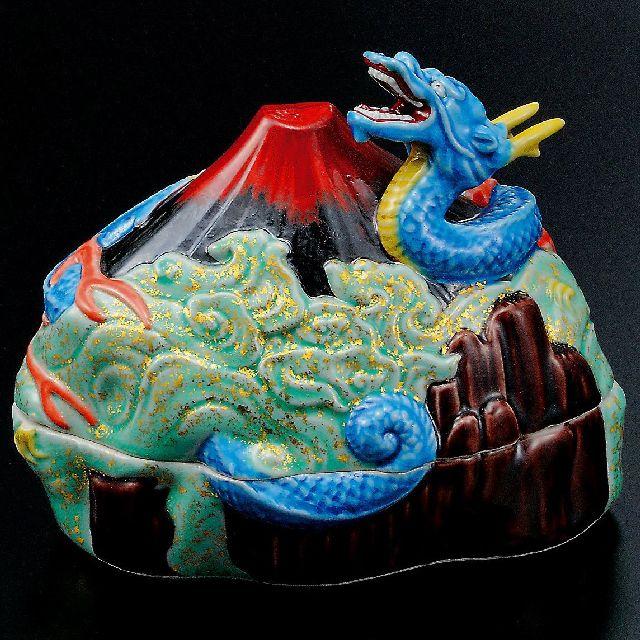 九谷焼作家 ギフト ご贈答品 御祝い九谷焼6号香炉 赤富士に龍 谷敷正人