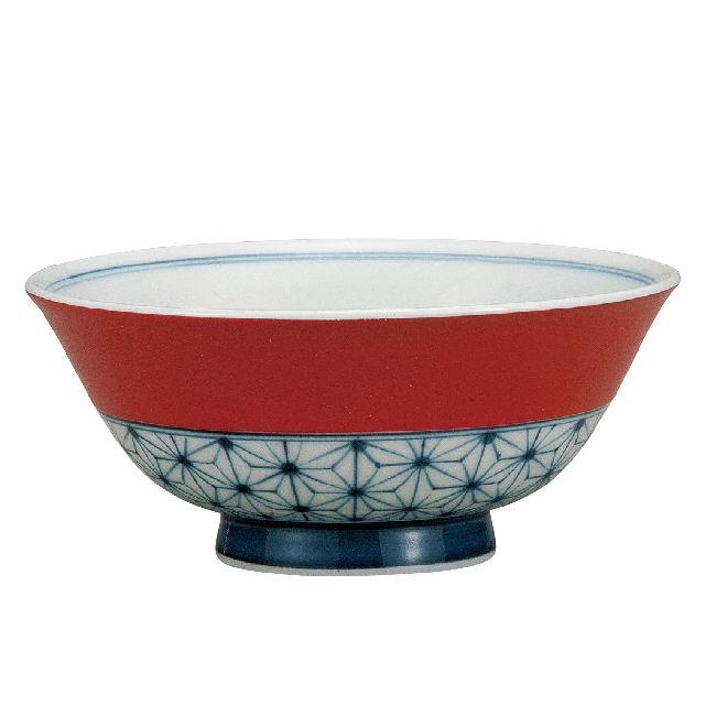 九谷焼ギフト ご贈答品 御祝い 九谷焼飯碗 朱巻麻の葉