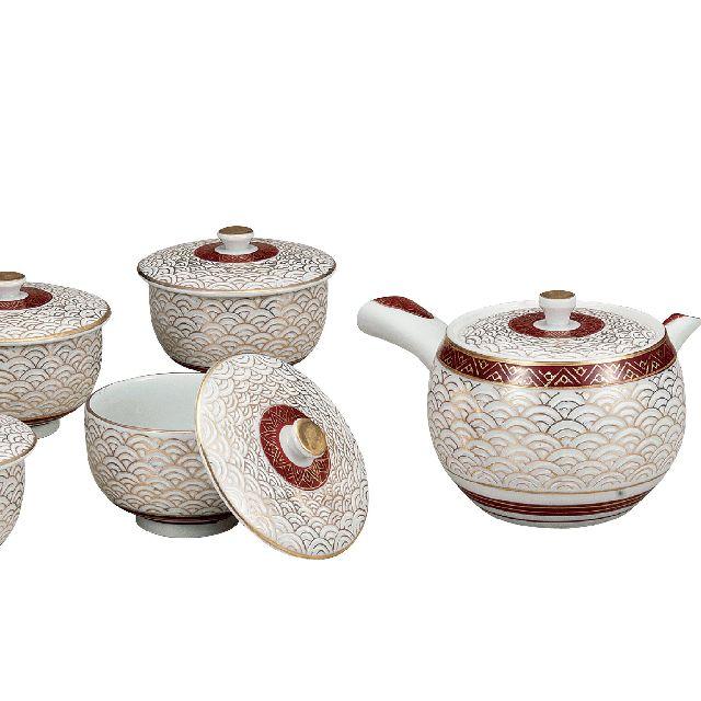 【送料無料】九谷焼ギフト ご贈答品 御祝い 九谷焼蓋付茶器 青海波