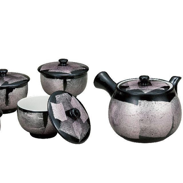 【送料無料】九谷焼ギフト ご贈答品 御祝い 九谷焼蓋付茶器 銀彩