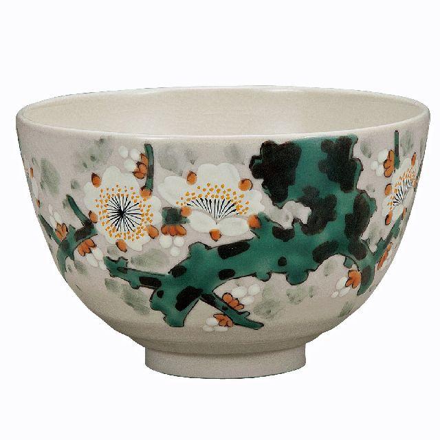 九谷焼高級ギフト ご贈答品 御祝い九谷焼抹茶碗 白梅 福田良則
