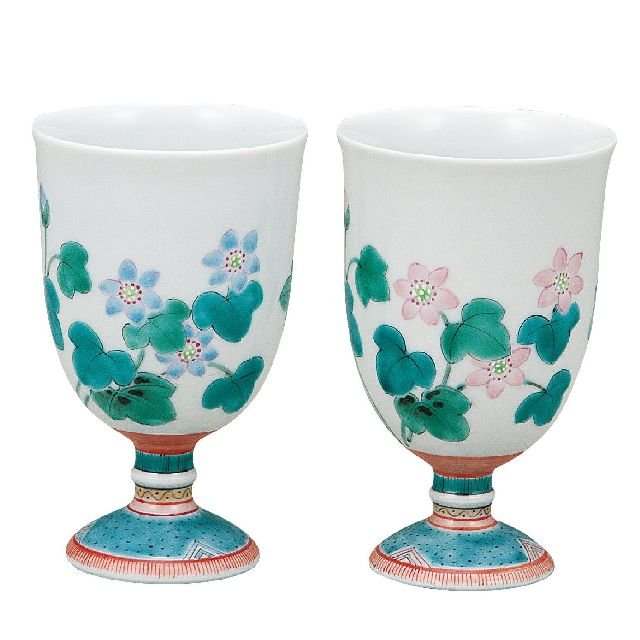 九谷焼ギフト ご贈答品 御祝い 九谷焼ペアワインカップ 雪割草 大兼政花翠