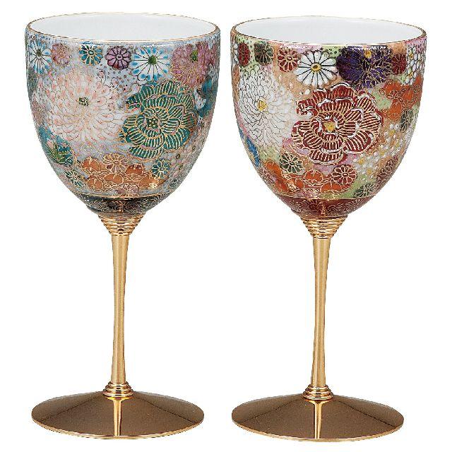 九谷焼ギフト ご贈答品 御祝い 九谷焼ペアワインカップ 色変り花詰