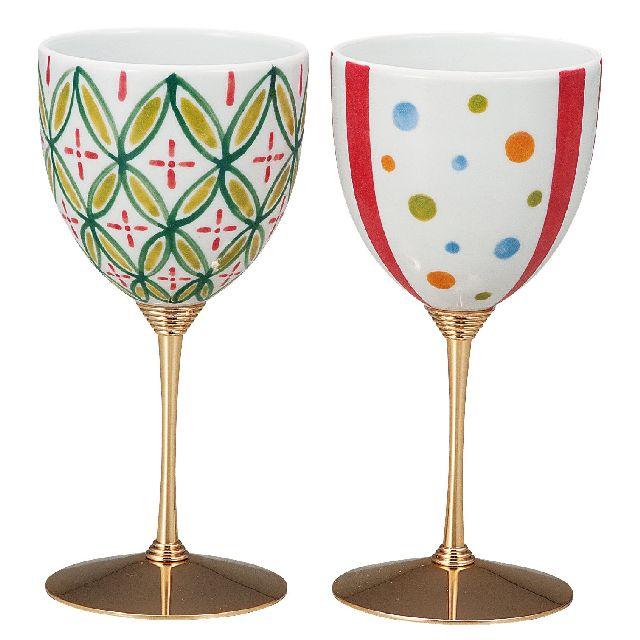 九谷焼ギフト ご贈答品 御祝い 九谷焼ペアワインカップ 彩てまり 北村知子