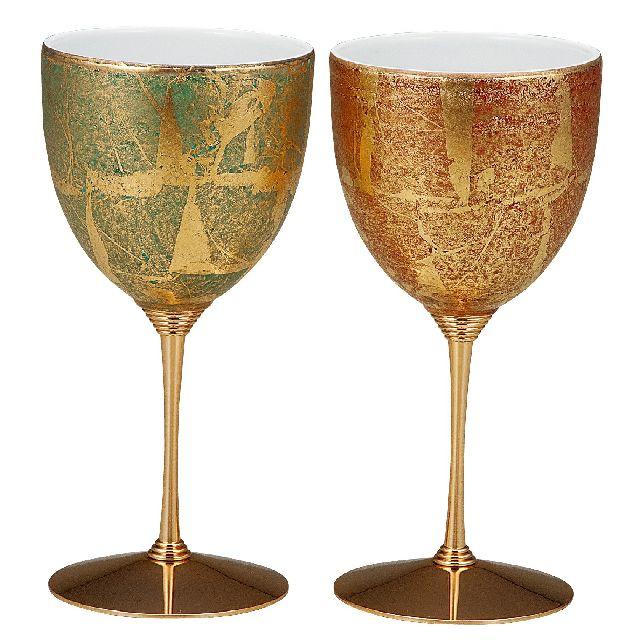 九谷焼ギフト ご贈答品 御祝い 九谷焼ペアワインカップ 金箔彩
