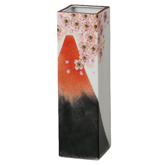 九谷焼ギフト ご贈答品 御祝い 九谷焼8号花瓶 赤富士 福田良則