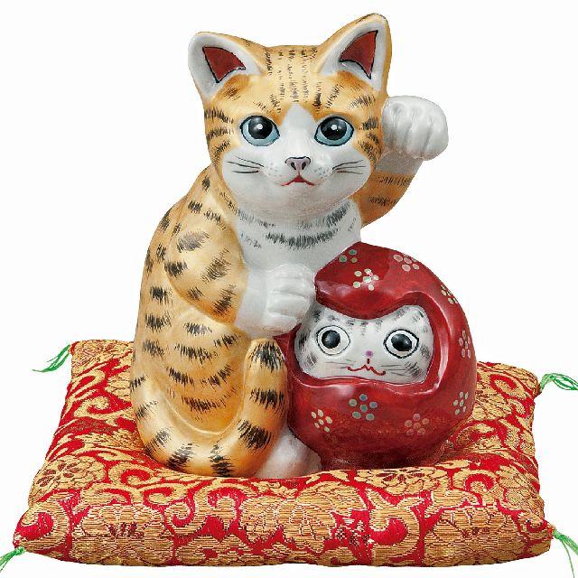 九谷焼ギフト ご贈答品 御祝い 九谷焼5.3号達磨招き猫 金彩釉(布団付)