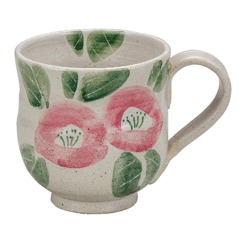 九谷焼ギフト ご贈答品 御祝い 九谷焼マグカップ 染付ピンク椿 九谷和窯