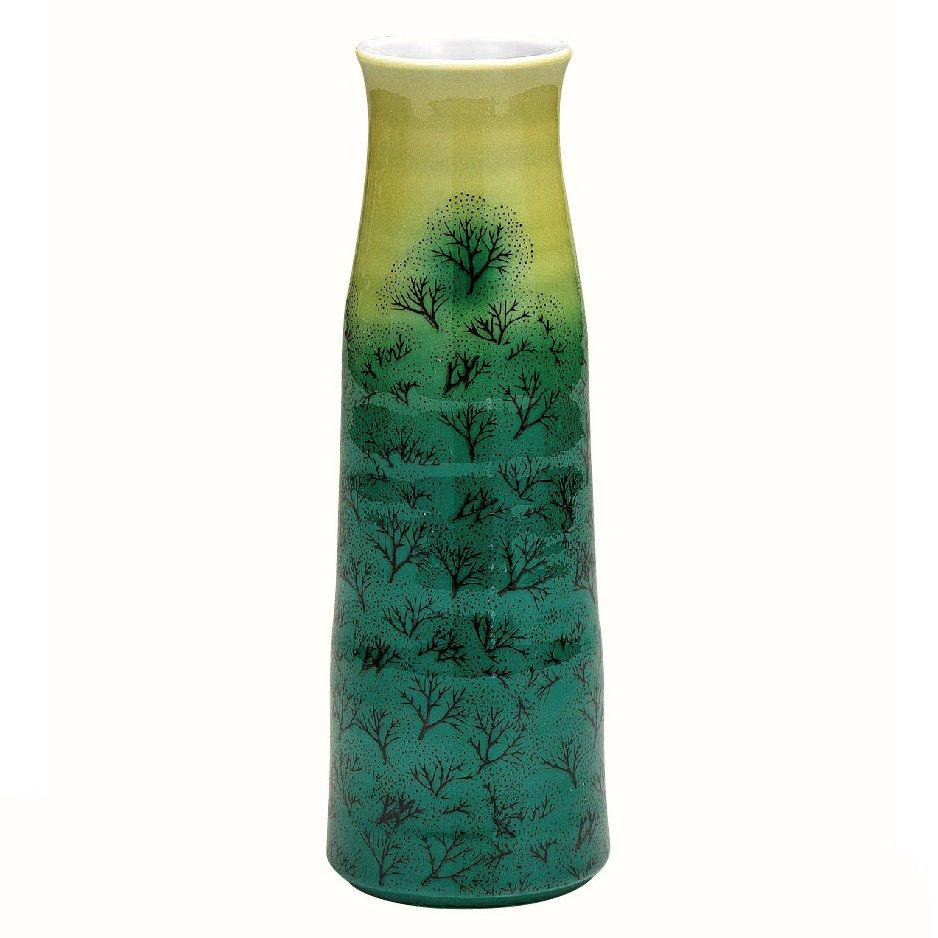 九谷焼ギフト ご贈答品 御祝い 九谷焼8号花瓶 新緑