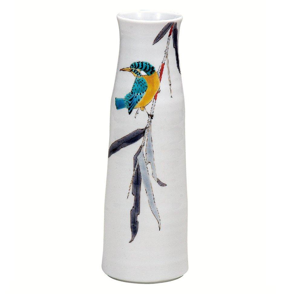 九谷焼ギフト ご贈答品 御祝い 九谷焼8号花瓶 竹に翡翠 山田龍山