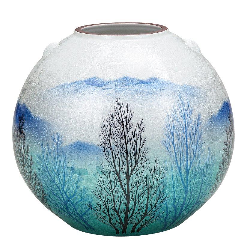 九谷焼ギフト ご贈答品 御祝い 九谷焼7.5号花瓶 銀彩木立