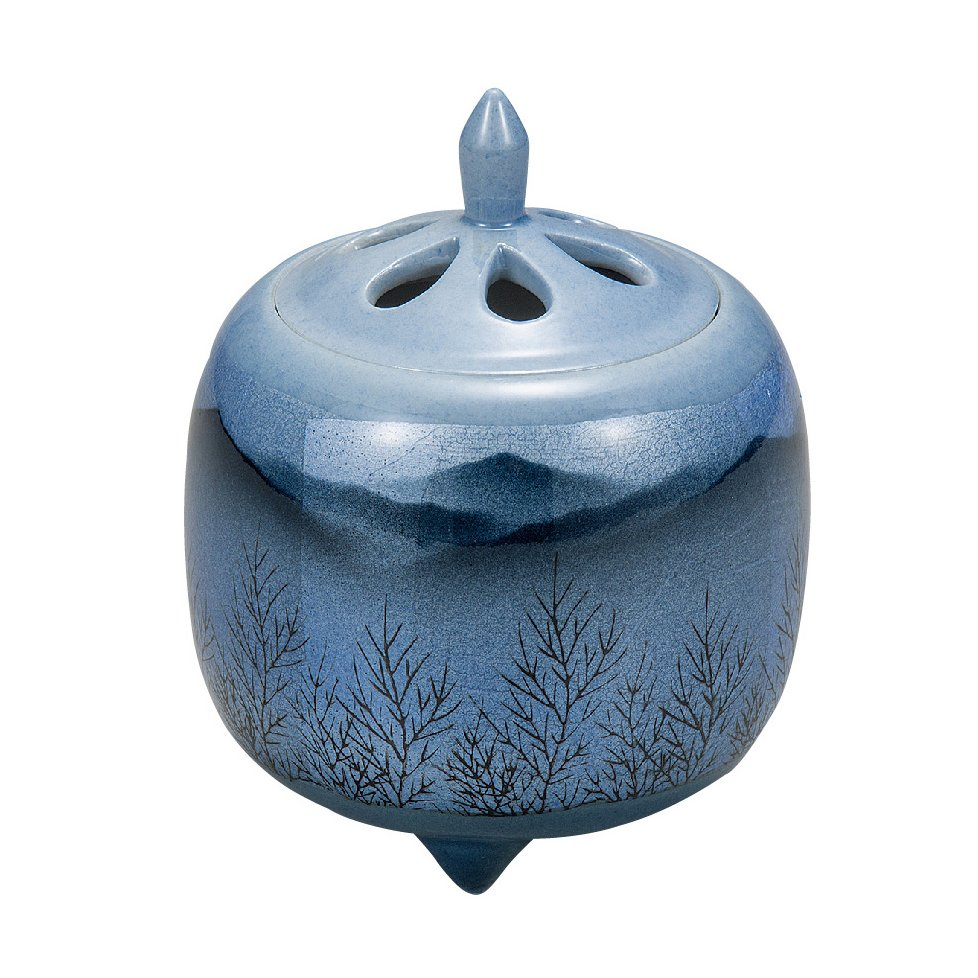 九谷焼高級ギフト ご贈答品 九谷焼3.8号香炉 銀箔釉木立連山