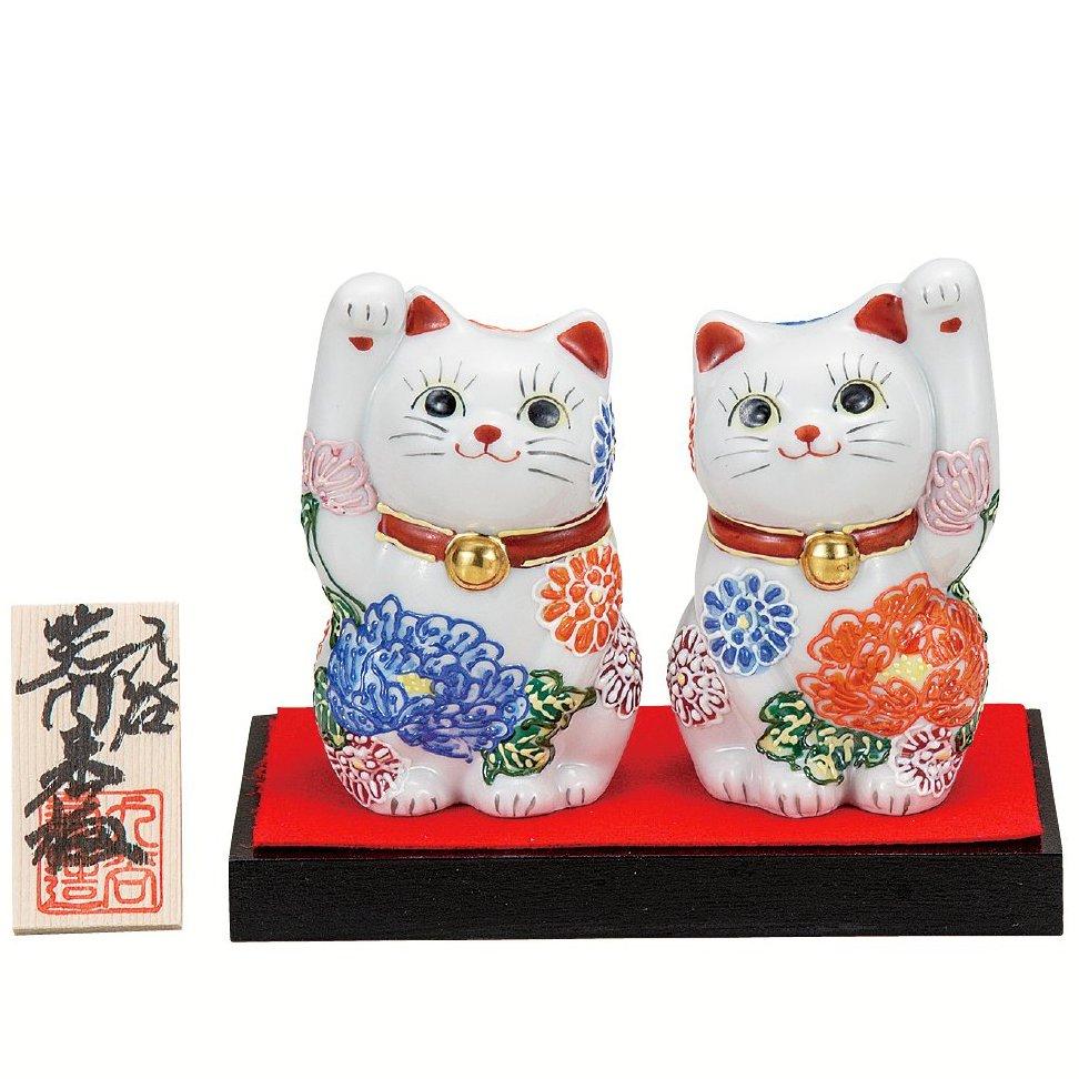 九谷焼ギフト ご贈答品 御祝い 九谷焼3.2号ペア招き猫 花づくし(台・敷物・立札付)