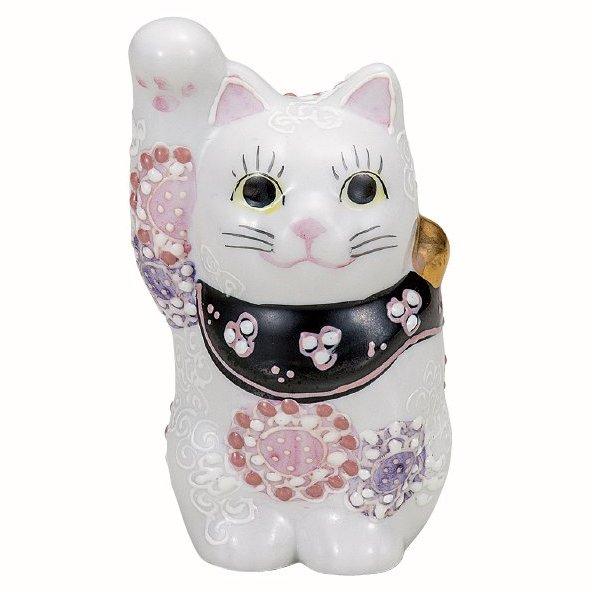 九谷焼ギフト ご贈答品 御祝い 九谷焼3.2号招き猫 花むらさき