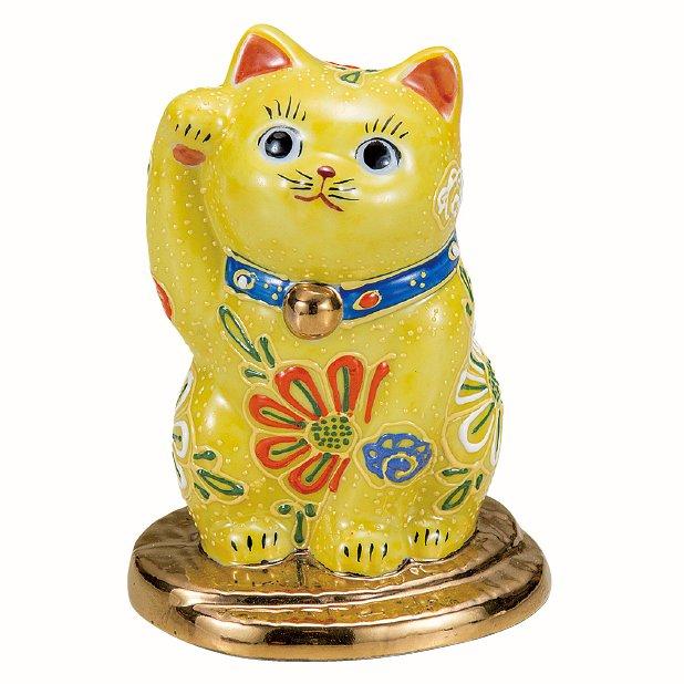 九谷焼ギフト ご贈答品 御祝い 九谷焼3.2号小判乗り招き猫 黄盛