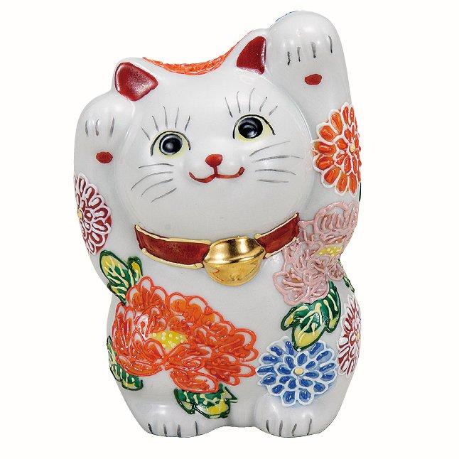 九谷焼ギフト ご贈答品 御祝い 九谷焼4号両手招き猫 花づくし