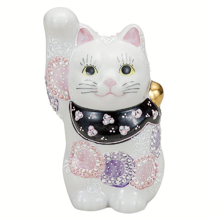 九谷焼ギフト ご贈答品 御祝い 九谷焼4号招き猫 花むらさき