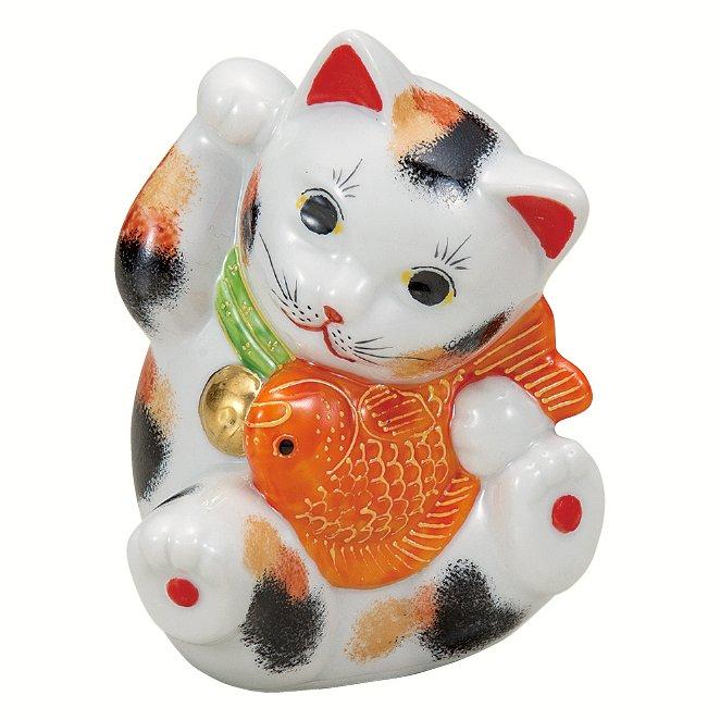 九谷焼ギフト ご贈答品 御祝い 九谷焼3.8号鯛招き猫 三毛