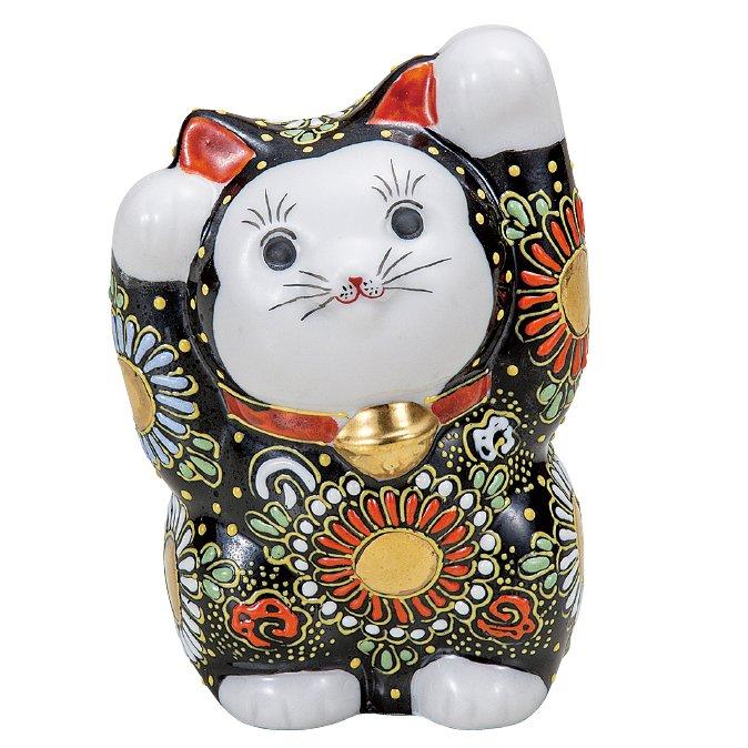 九谷焼ギフト ご贈答品 御祝い 九谷焼4号両手招き猫 黒盛