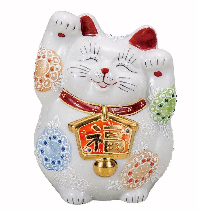 九谷焼ギフト ご贈答品 御祝い 九谷焼4.5号絵馬招き猫 白盛